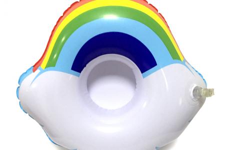 גלגל מתנפח לשתייה לבריכה או לים - קשת בענן