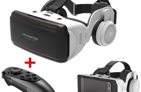 משקפי VR משולבות אוזניות ושלט אלחוטי לחווית משחק מושלמת!