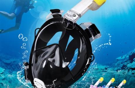 מסכת צלילה פנורמית עם שנורקל ואפשרות לחיבור מצלמה