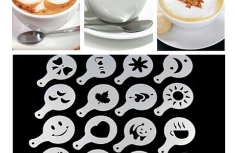 סט שבלונות מדליקות ליצירת צורות על קפה, שוקו, עוגות ועוד