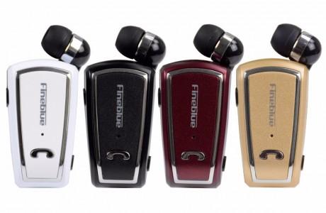 אוזניית דיבורית בלוטוס איכותית עם חוט קפיצי וקליפס לדש הבגד Fineblue F-V3