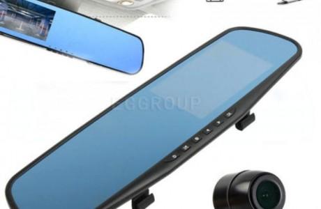 מצלמת תיעוד HD מוסלקת במראה פנורמית + מצלמת רוורס